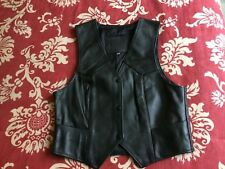FMC Black Leather Motorcycle Western  Pockets Biker Snap Vest Women's XS (TH7)
