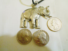 bling pewter african wild elephant animal pendant charm leather hip hop necklace