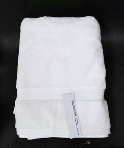 NEW CALVIN KLEIN SNOW WHITE 100% COTTON PLUSH BATH TOWEL