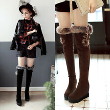 Womens Round Toe Wedge Heel Over Knee High Thigh Boots Fur Trim Top Casual Shoes