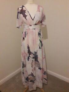 Little Mistress Petite Pink & Purple Empire Chiffon Lined Summer Occasion Dress