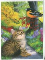 ACEO FLUFFY TABBY CAT AUTUMN FALL GARDEN ORIOLE BIRD PATH TREES NATURE ART PRINT