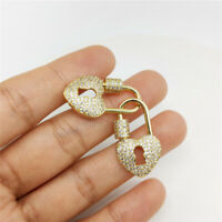 Heart CZ Micro Pave Lock Screw Claw Clasp For Necklace Bracelet Jewelry Findings