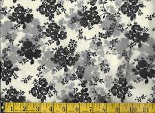 BLACK FLORAL ON WHITE, 100% Cotton Flannel, 1/2 yard