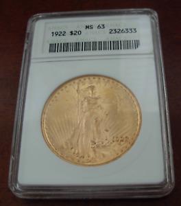 US 1922 Gold $20 Double Eagle ANACS MS63 Saint - Gaudens
