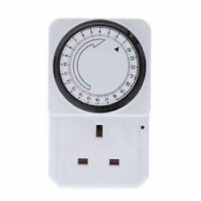 24 HOUR Mains Timer with LED For Lamps Lights Plug In 3 pin UK