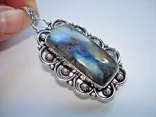 AB Blue-Fire Labradorite Spectrolite Black Moonstone Silver Pendant Necklace 2.5