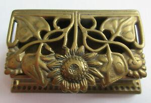 Brass Stamp Box Art Nouveau Style Sunflower Design Original Label Vintage Brass