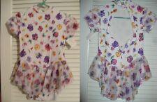 Dance Skating Baton Twirl Dress White with pansies print Girls 8 10