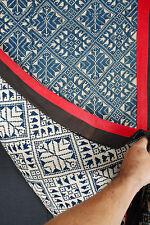 Vintage indigo cream Laos ethnic blanket Tai tribal cotton tapestry Pha Hom TE6
