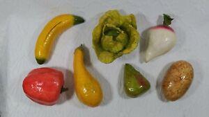 Vintage Paper Mache Vegetables 7 Pieces Decorative Multicolor Folk Art