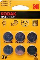 Pila KODAK MAX CR2016 CR2025 CR2032 - Lithium Battery 3V - Pack De 6 Pilas