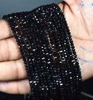 """100% Natural Black Spinel Gemstone 4 mm Rondelle Faceted Loose Beads 13"""" Strand"""