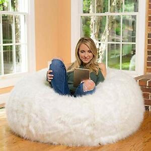 Soft White Supreme Fur Bean Bag Cover Only Without Beans XXXL Size kids adults