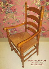 Ethan Allen Baumritter Ladderback Reed Seat Arm Chair Early American 10 645