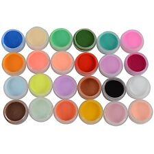 24 Colors Carving Acrylic Powder Dust Nail Art Manicure 3D Liquid Deco Builder