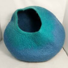Walking Plam Blue Felted Wool Cat Cave Cozy Pet Bed