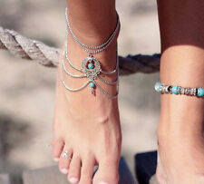 1 Pair of Turquoise Barefoot Sandals Beach Anklet Foot Silver Chain Bohemia
