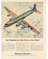 1945  American Airlines DC-6 Flagship Airplane art Vtg Print Ad
