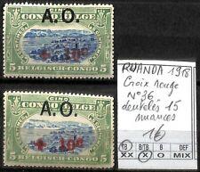 [841554] TB||*/Mh || - Ruanda-Urundi 1918 - N° 36, dentelés 15 nuances, Croix-Ro
