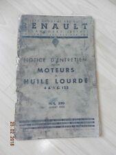 Notice d'utilisation RENAULT camion  moteur huile lourde 4 & 6 C. 125 1935
