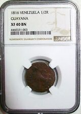 1816 VENEZUELA GUAYANA COPPER 1/2 REAL NGC XF-40 BROWN