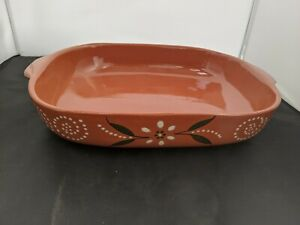 "Handmade Portuguese Terracotta Oven Dish with Floral Design 16.5"" #SH-CO1"