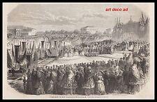 GRAVURE INAUGURATION CHEMEIN DE FER TRAIN VILLENEUVE D' AGEN à TOULOUSE  1856