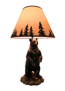 Zeckos Standing Grizzly Bear Table Lamp W/ Silhouette Shade