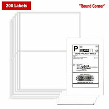 200 Round Corner 8.5x5.5 Shipping Labels Half Sheet Self Adhesive Blank US Fast