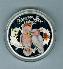 TUVALU 2014 1/2 OZ .999 SILVER COCKATOO COLORIZED FOREVER LOVE GEM PROOF