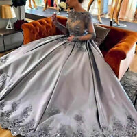 Silver Long Sleeves Ball Gown Lace Appliques Formal Prom Dresses Evening Gowns