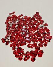 200 RED Rhinestone varied Sizes Shapes Rivoli Faceted Acrylic Point Back Vintage