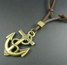Mens leather stainless steel anchor Necklace fathers day boy pirate fancy dress
