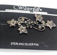 Vintage Sterling Silver Brooch Pin 925 Flower Signed Waterfall Designer