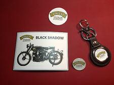 VINCENT MOTORCYCLE BLACK SHADOW COLLECTORS SET:keyring/badge/magnet/sticker