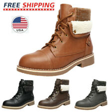 Women's Low Heel Lace Up Ankle Booties Winter Warm Combat Boots