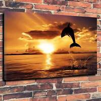 """Beautiful Tranquil Dolphin Sunset Printed Canvas A1.30""""x20""""~Deep 30mm Frame V9"""