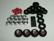 Herpa Promotex HO Truck Trailer Wheels CHROME rims/red caps Set 1:87 52610