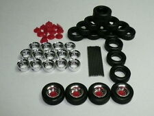 Herpa Promotex HO Truck Trailer Wheels CHROME rims/red caps Set 1:87 52610
