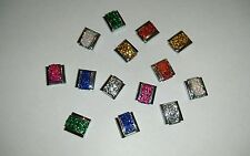 VARIOUS COLOURS GLITTER Italian 9mm nomination style charm
