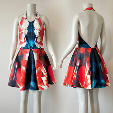 Red and Blue Multi Sleeveless Halter Inverted Center Pleat Scuba Dress/ Small