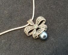 Vintage Sterling Silver FAS Ribbon Bow Faux Pearl And Marcasite Pendant Slider