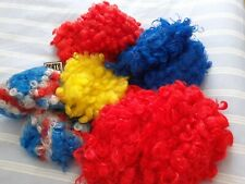 LOT OF 11 CURLY CIRCUS CLOWN WIGS MISC COLOURS FANCY DRESS HAIR
