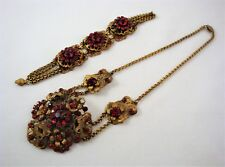 Antique CZECH Necklace & Bracelet Garnet Red Stones Goldtone Filigree Settings