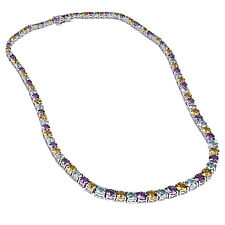 Sterling Silver 42ct. Amethyst, Citrine and Blue Topaz Luxury Riviera Necklace