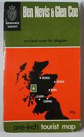 1966 old vintage OS Ordnance Survey one-inch tourist map Ben Nevis & Glen Coe