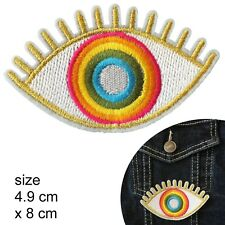 Gold Rainbow eye patch- happy look eyes heat transfer iron-on embroidery patches