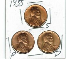 1955-D-P-S Three Brilliant Uncirculated Business Strike Cent Coins!