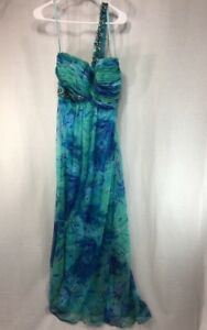 Cache Formal Dress Gown Womens 6 One Strap Blue Green Embellished Sequin Floor.
